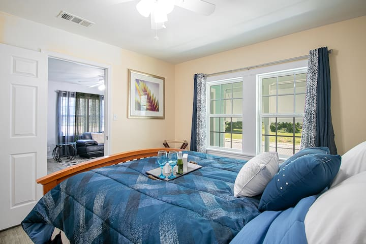 Our master bedroom with comfortable Queen bed that sleeps two is ready to greet your tired body.