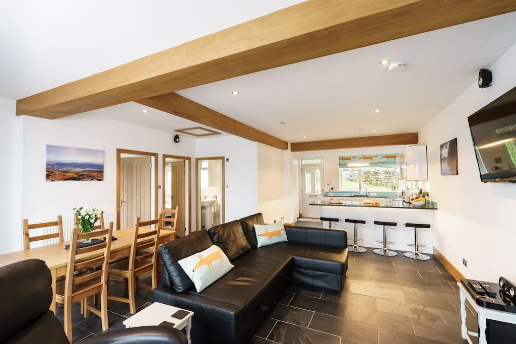 The open plan kitchen and living area.