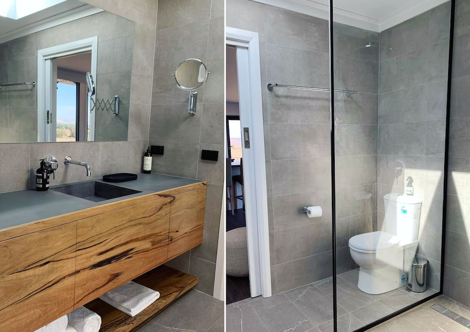 Beautiful bathroom with skylight bringing letting in the natural light