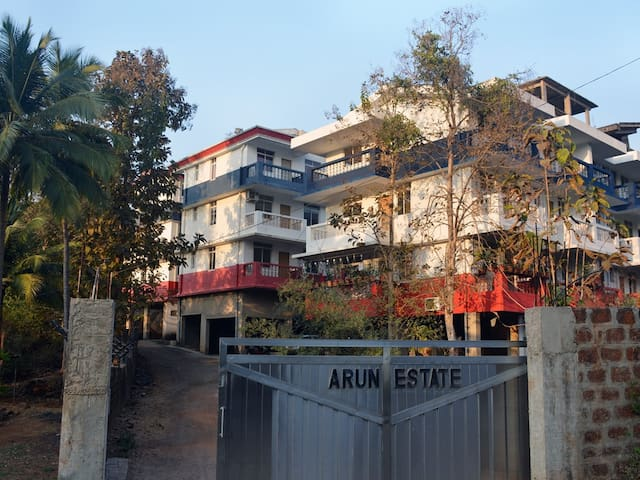 Arun Estates Entrance. Building Block on far left.