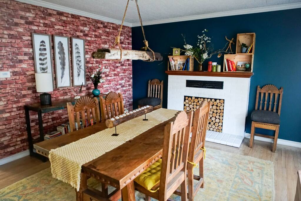 Eccentric dining room for family meals and board games.