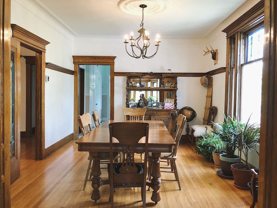 Century-old woodwork decorate the house in every room, particularly in our dining room.