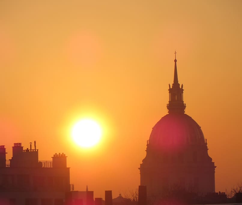 Invalides view from balcony at sunrise.