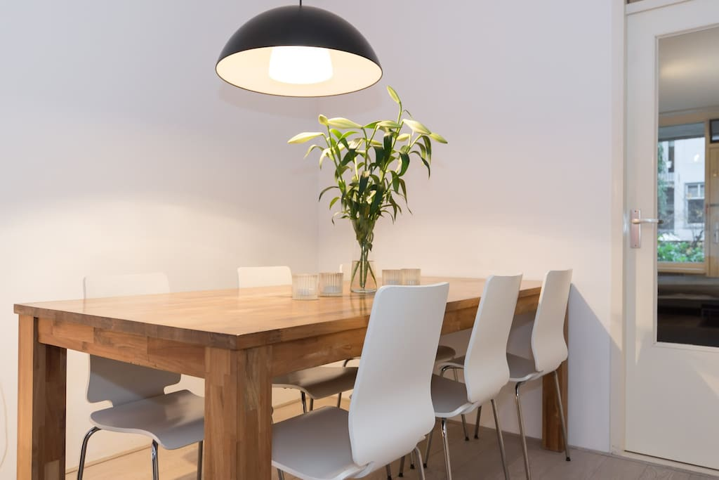 Great dining table and a place to work on with high speed WiFi