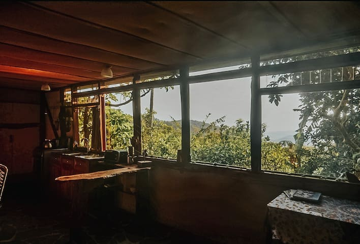 Picture windows run the length of the cabin, and look out onto our private forest preserve and the Gulf of Nicoya