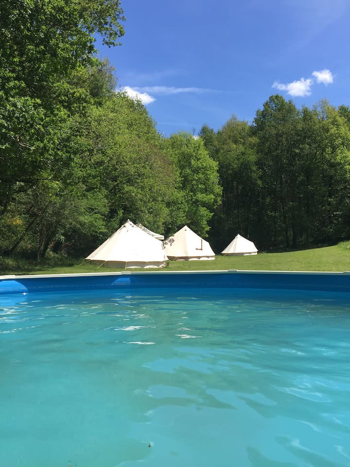 View of pool and tents