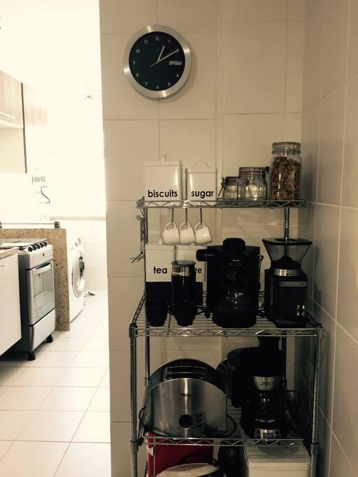 Coffee station with coffee machine, toster, espresso machine, milk foamer, coffee grinder