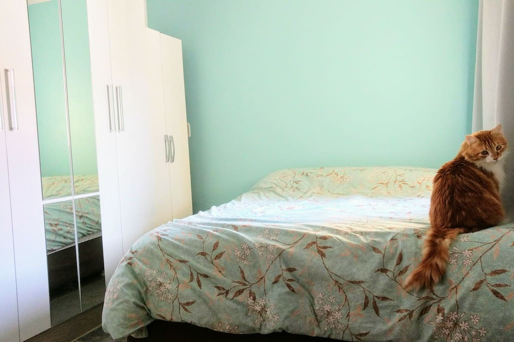 Este será seu quarto enquanto hospedar-se aqui em casa. Ficaremos no outro quarto, então aqui você terá toda privacidade para descansar dos passeios e recarregar as energias. Disponibilizo roupa de cama limpa e cobertores quentinhos.
