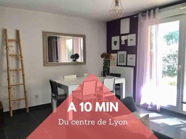❤️Appt cosy 63m2+jardin⭐️ à 10 min du centre de Lyon