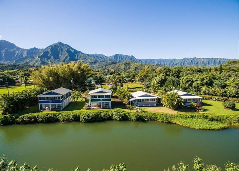 Ariel View of Our Dolphin Cottages along the Hanalei River