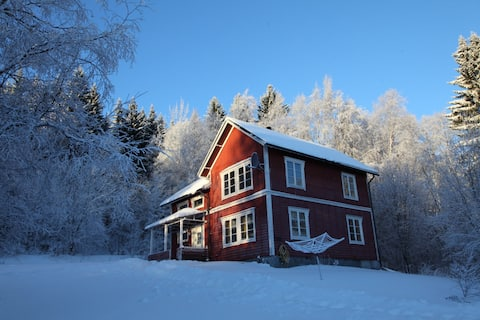 Red wooden house in the forest