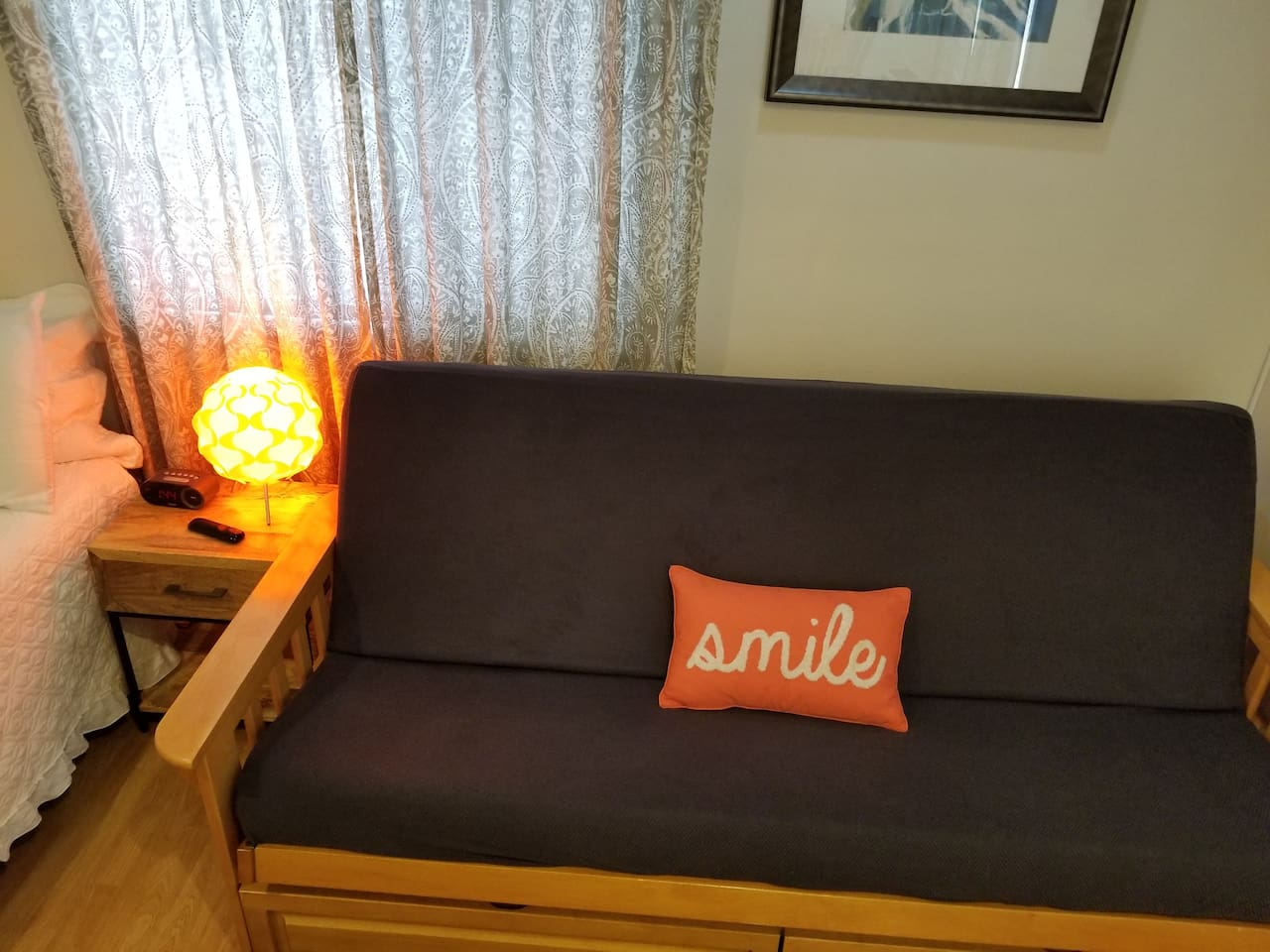 This is the sofa bed that becomes the second double bed with memory foam mattress.