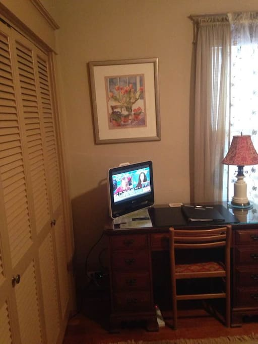 There is desk, dresser, TV with cable connection, and clock radio - among other amenities. WiFi and wireless printer on-site, for your convenience.