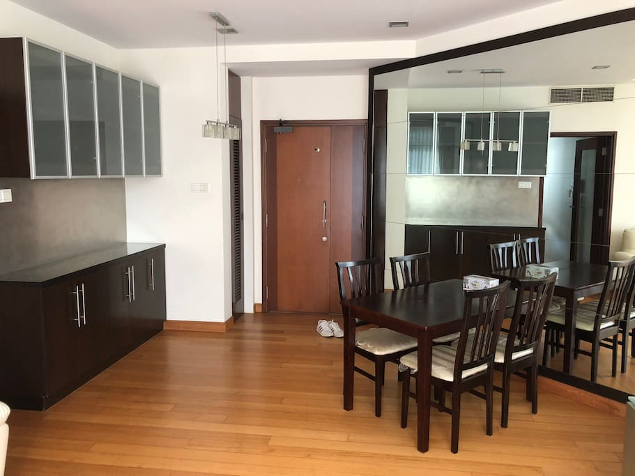 Entrance of living room with dining table