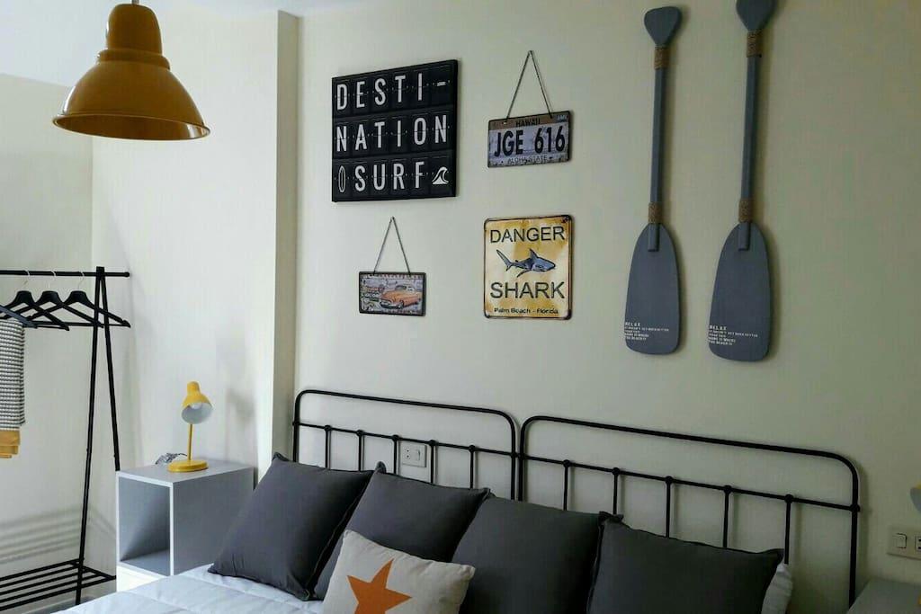 Dormitorio dos camas de 90x190cm.