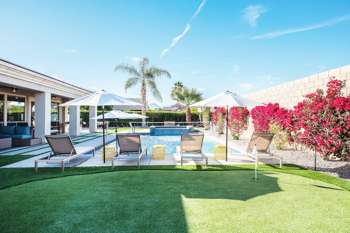 Enjoy a sunny day by the pool .  Lounge in the sun, play volleyball, relax  in the XL Spa or  work on your short game on the putting green!