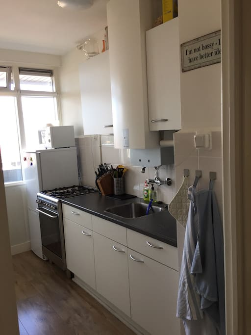 Kitchen with brand new fridge and stove!