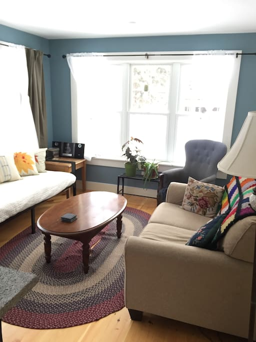 Sunny, comfortable living room with short-range mountain views, plus the garden and a pasture
