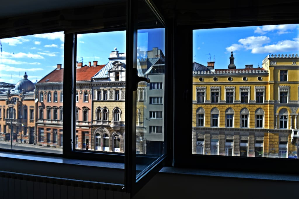 Colorful view from the living room window.