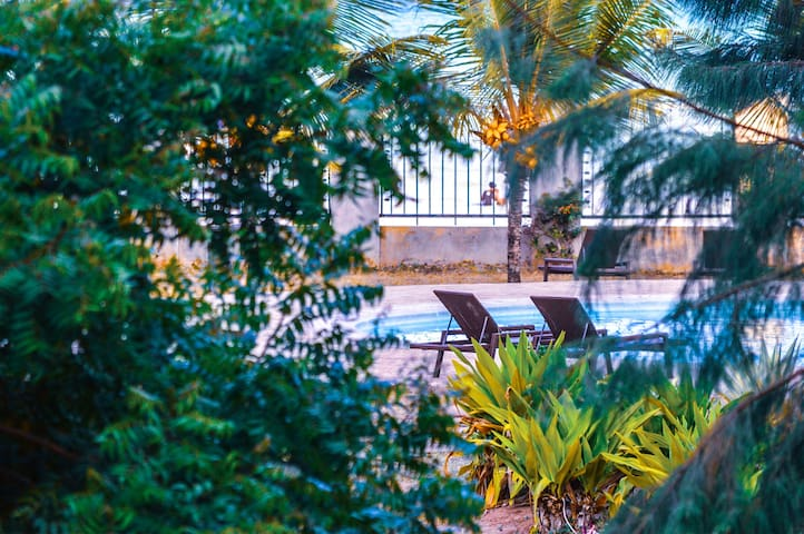 Pool with Beach Access,manicured garden with palm and coconut trees ,lay the sunbed under the leafy shades and enjoy breeze and exciting views