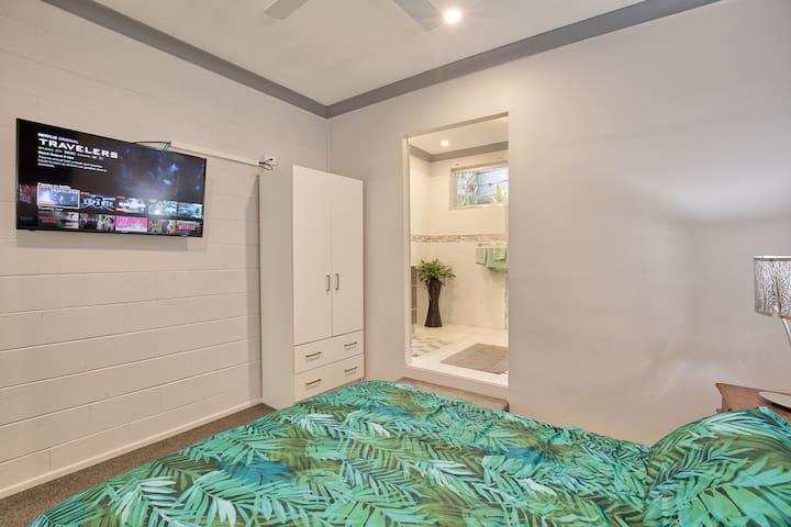 Bedroom 1 storage & new smart  TV