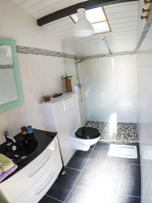 Salle de bain avec douche a l'italienne, vasque et WC