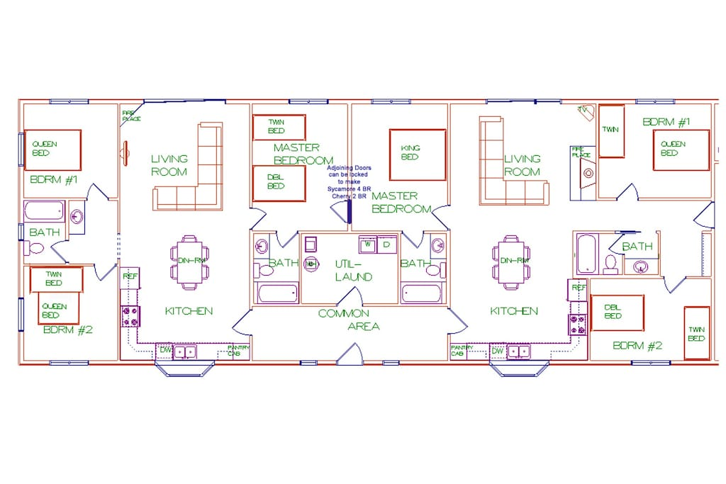 Floor plan showing living areas and beds.