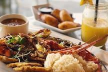 Grilled Caribbean lobster served up at Bananas, one of our favorite Esperanza restaurants.