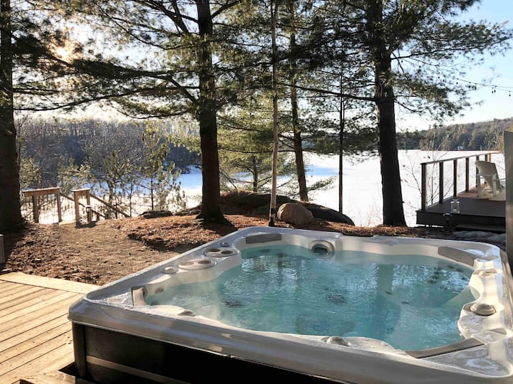 Hot Tub by the Fire with Gorgeous Lake Views