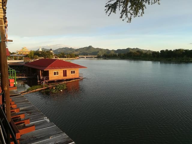 Sunset on the River Kwai from Rainbow lodge's terrace