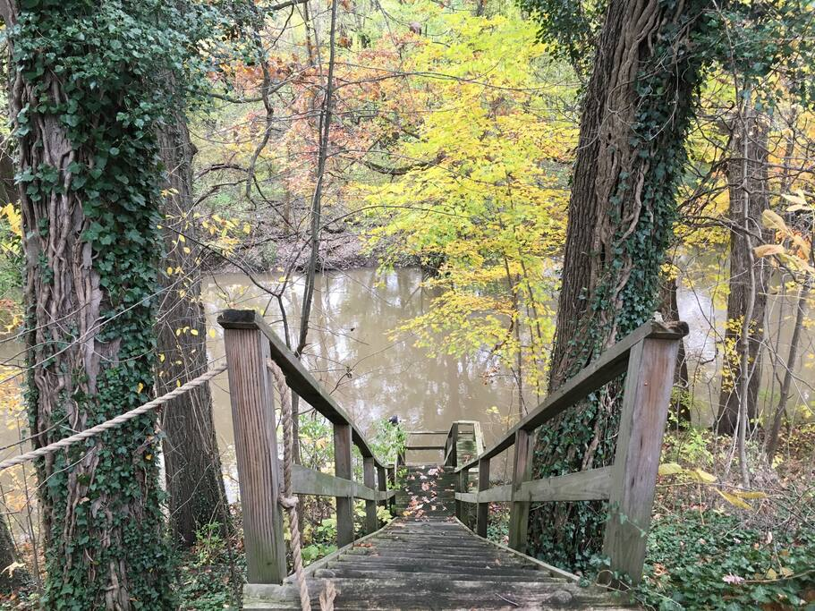 Steps to overlook the river right out the back!