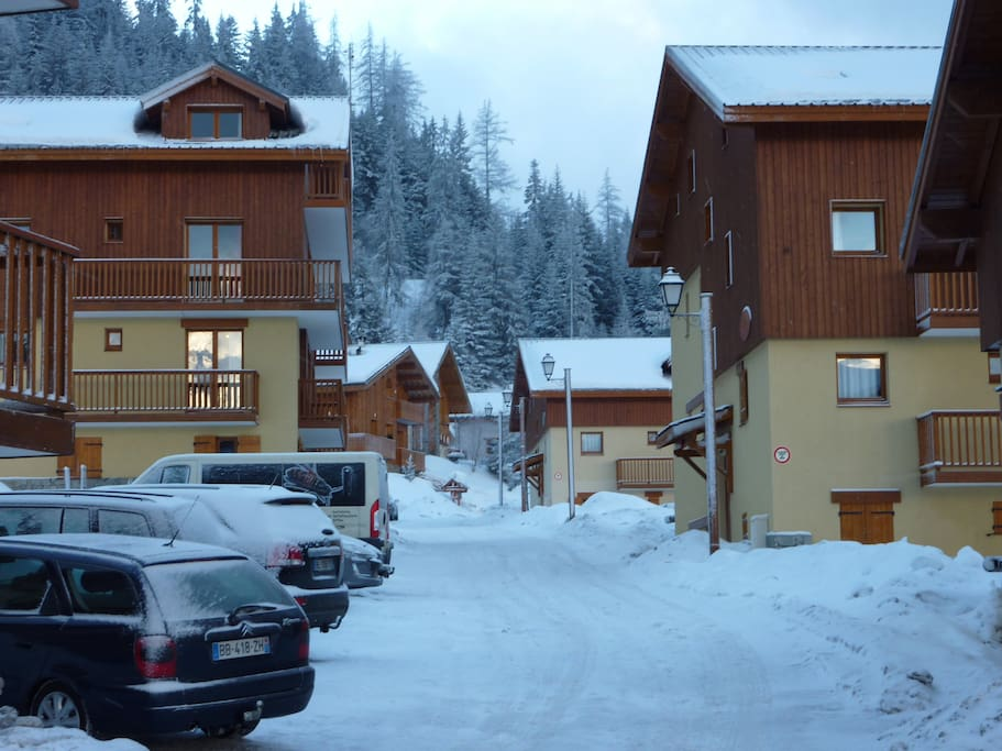 Possible to ski in out of apartment when conditions are good, parking available next to apartment