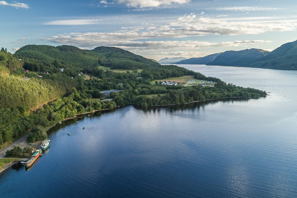 Our summer berth at Foyers Pier on Loch Ness on a beautiful evening (Photo credit - John Banks)