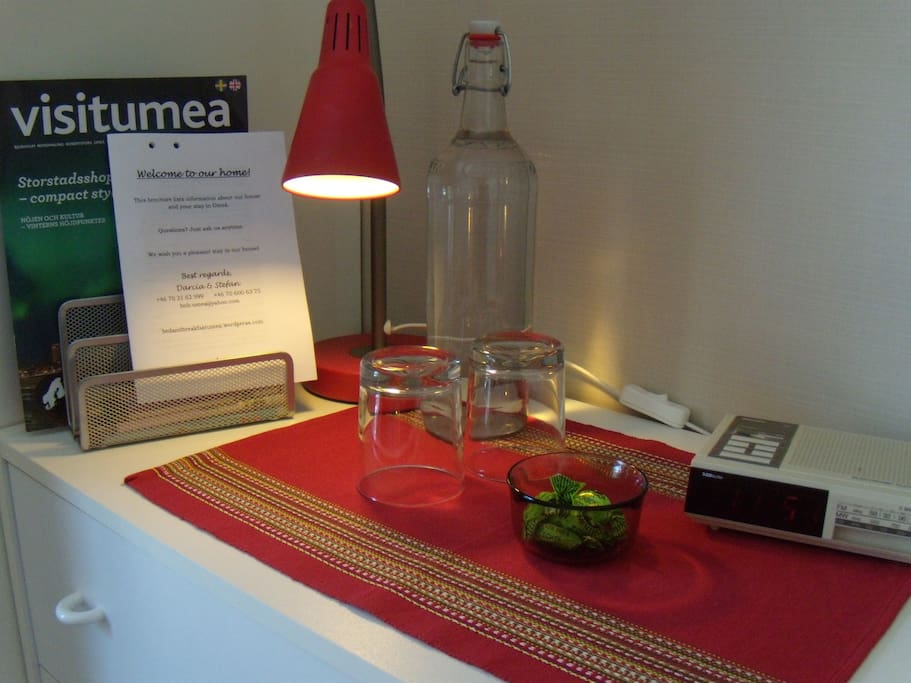 Tourist information and welcome brochure in guest room