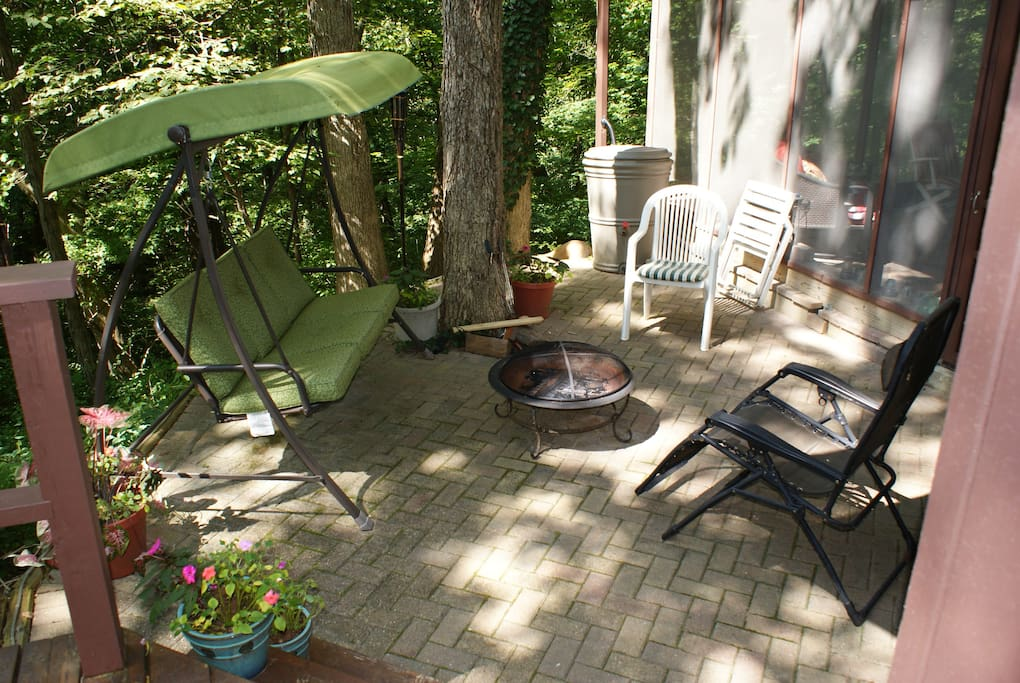 Patio with fire ring