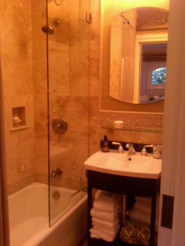 Limestone full bath with luxury  amenities