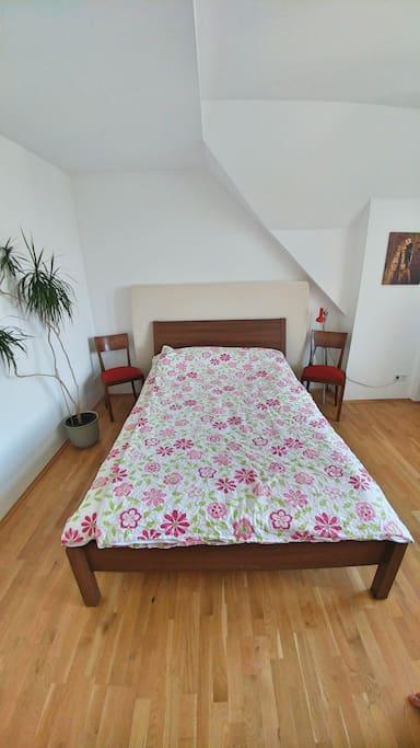 Das 1,60 m Bett läd´ zum Entspannen und Ausschlafen ein. Eine weitere Matratze von 1,40 m Breite steht Euch auch zur Verfügung.