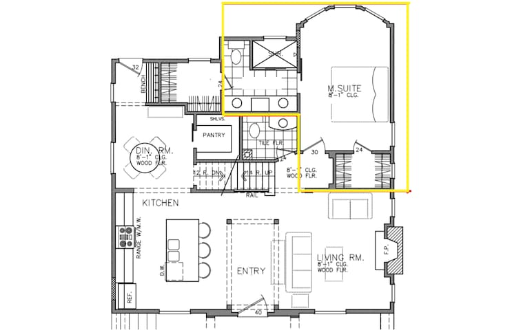 Highligthed in yellow, you can see a floor plan of your space! Spacious storage and spa inspired bathroom with double vanities and walk in shower.