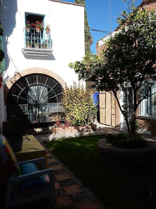 Courtyard outside the unit with our orange tree and gardens
