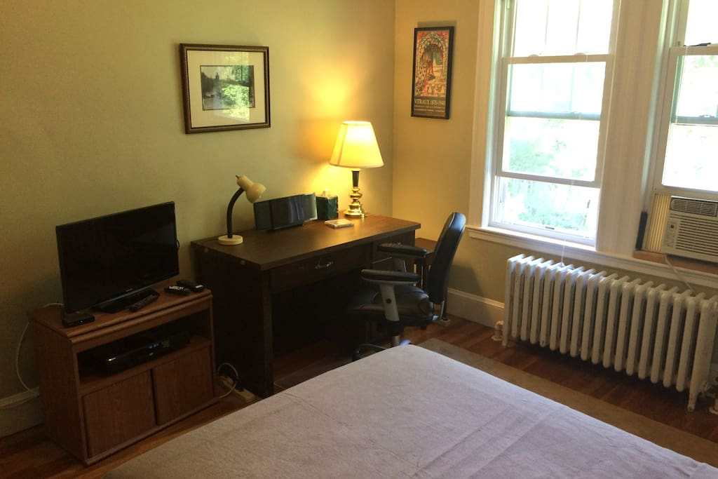 Your room has a comfortable desk to work at, cable TV, and two windows that look out onto the back yard.