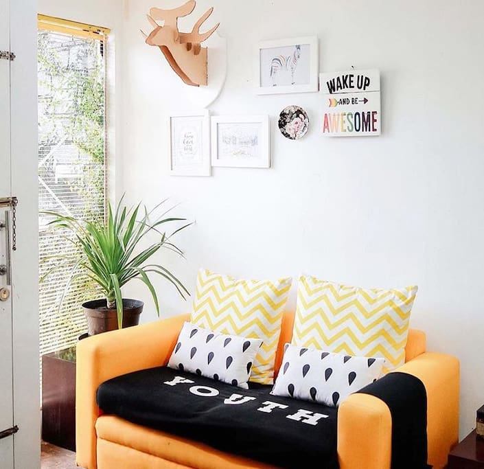 Two seater sofa inside the room