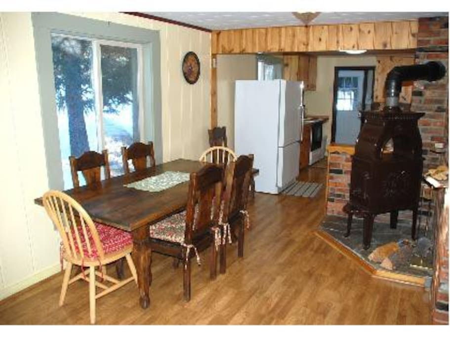 Dining area and wood stove for cozy heat