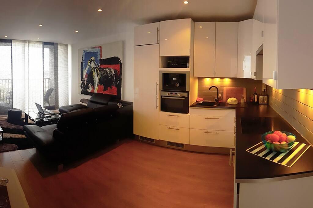 Un appartement sobre, accueillant et chaleureux avec cuisine américaine