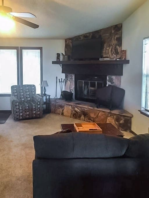 Living room view with smart TV and wood burning fireplace