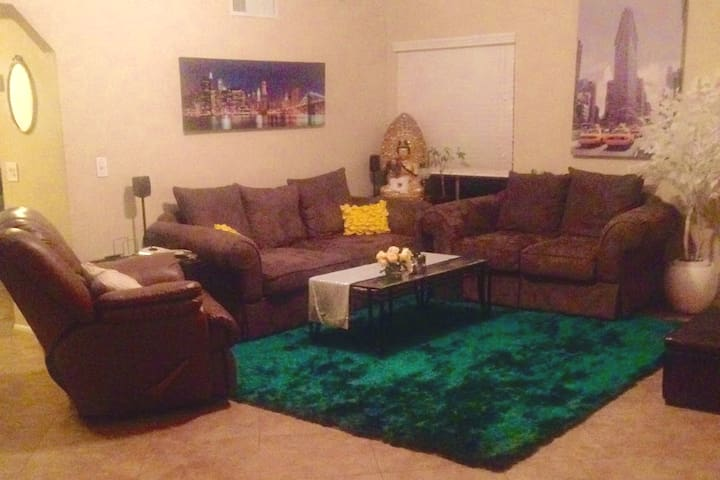 Living room lounge with optional pull out couch.