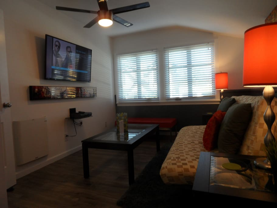 Here's where you can relax and watch TV or use the futon as a separate sleeping area.