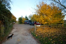 The car park at Durhams Farm. The Huts are located through the gate - opposite the entrance!