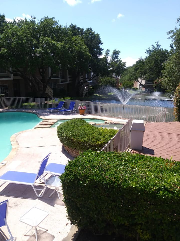Relax by the pool, fountains and wildlife in the sun ... or under the moon.