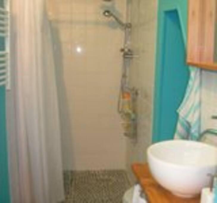 Salle de bain à partager avec douche à l'italienne et rangement. Sèche serviette électrique.