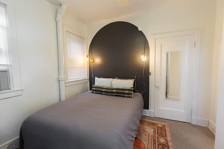 Queen size  bed with memory foam mattress.
